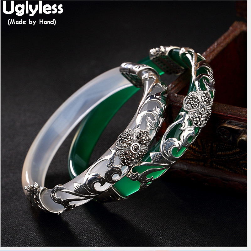 Uglyless 925 Silver Four Leaf Clover Bangles for Women Transparent Gemstone Bangle Ethnic Flower Jade Bracelet Thai Silver Vines image