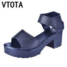 Vtota Модные женские сандалии из мягкой искусственной кожи Летние женские туфли босоножки на платформе с открытым носком sandalias мелочь на высоком каблуке Женская обувь X401