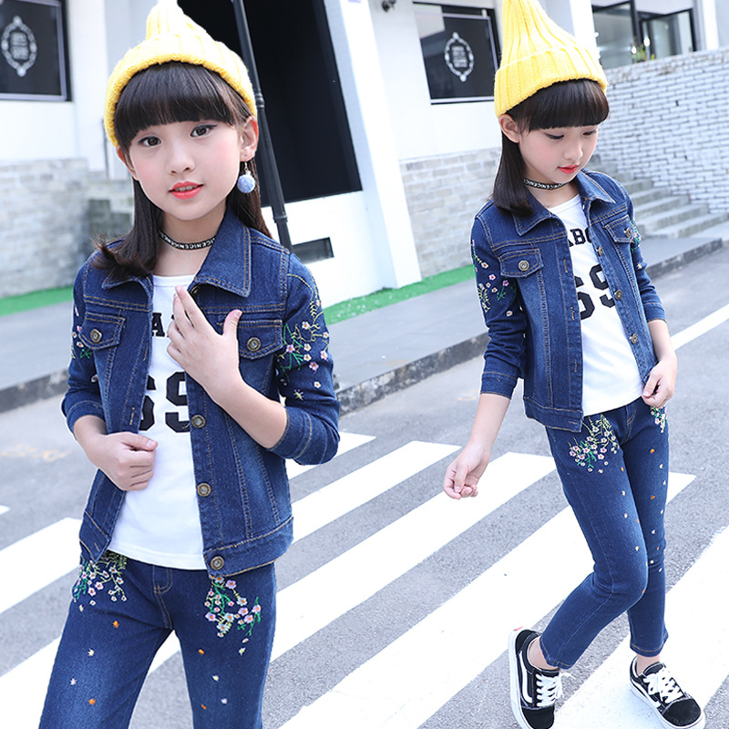 Teenage Girls Fashion 3Pcs Children Clothing Set Cowboy Jacket+Hole Jeans+T-shirt Fashion Spring Big Girls Clothes Suit Autumn children s clothing spring high quality cowboy three piece suit of the girls flowers fashion baby suit denim set for infants