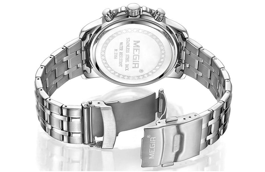 HTB1UR6UXQ7mBKNjSZFyq6zydFXaT Megir Men's Gold Stainless Steel Quartz Watches Business Chronograph Analgue Wristwatch for Man Waterproof Luminous 2068GGD-2N3