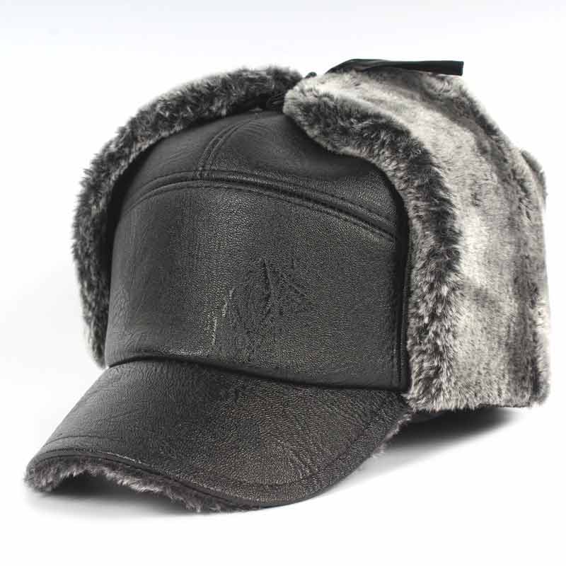 Men Earflap Winter Hat Thick Faux Fur Bomber Hat For Russian Cold Weather Black Grey In Stock