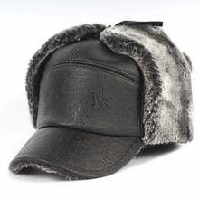 Men Earflap Winter Hat Thick Faux Fur Bomber Hat