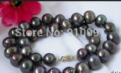 LHX54013>>>>Great 11mm black round Pearl Necklace 14k gold clasp