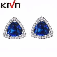 KIVN Fashion Jewelry Luxury Blue CZ Cubic Zirconia Wedding Bridal Stud Earrings for Women Mothers Day Birthday Christmas Gifts