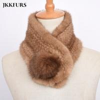 2019 Women's Real Mink Fur Scarf Luxury Fluffy Fur Winter Neck Warm Genuine Natural Fur Neckerchief Length 62cm S7476