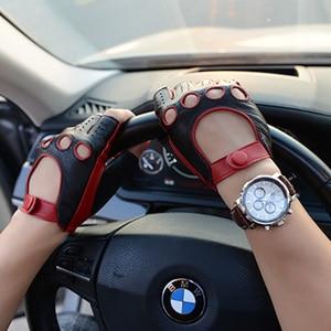 Image 3 - עור כפפות סגנון חדש אביב קיץ זכר חצי אצבע כפפות קטר אופנה לנשימה קמטים איש של נהיגה כפפות M 52