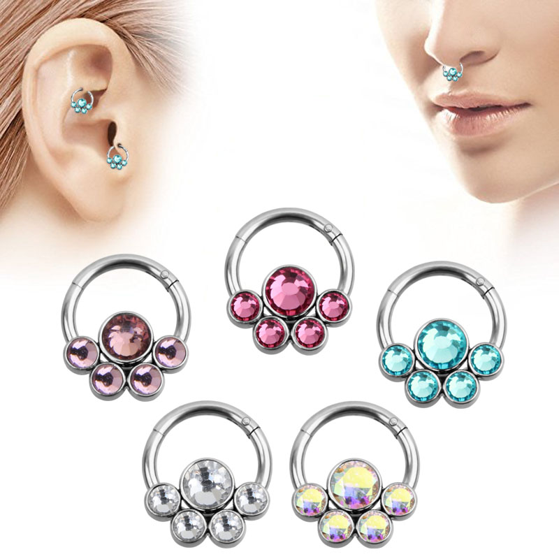 Lot of 4 Surgical Steel Flower Gem Nose Screws Rings Body Piercing Jewelry