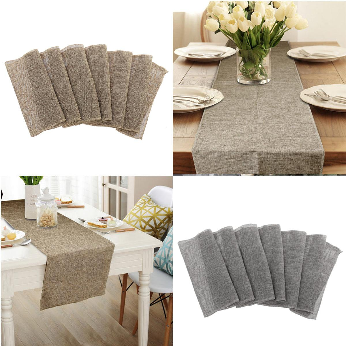 Jute Imitated Linen Table Runner Rustic Christmas Day Party Wedding Decoration Home Table Cloth