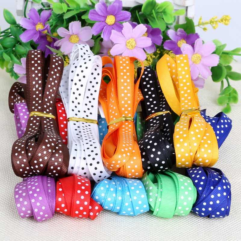 "Width10mm(3/8"") 5 Yard Dot Printed Grosgrain Ribbon Garment Sewing Accessories Headwear Material DIY Decorative arts and crafts"