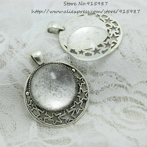 Fit 25mm vintage zinc alloy round blank setting bezel base cabochon sweet bell 6setsets antique silver alloy star 3645mmfit25mm dia aloadofball Gallery