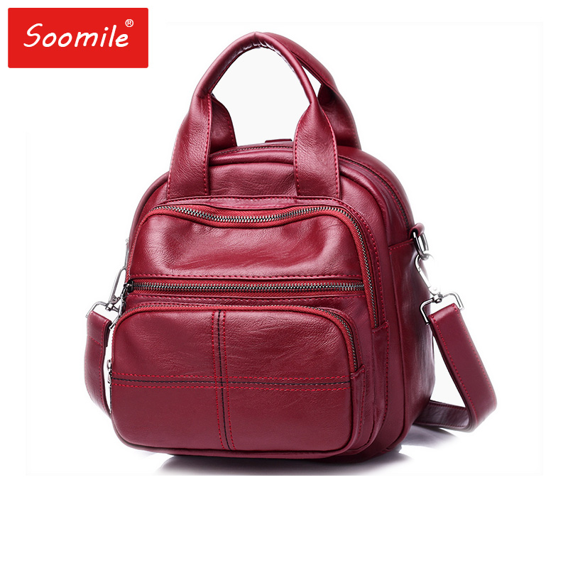 Mini Women Backpack red black PU Leather Preppy Style Backpacks portable  hangbag Teenager Female Back Pack cae6db71c7526