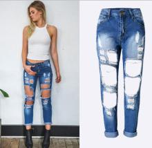 Free shipping woman's loose ripped jeans Fashion streetwear hollow out ankle-length denim pants