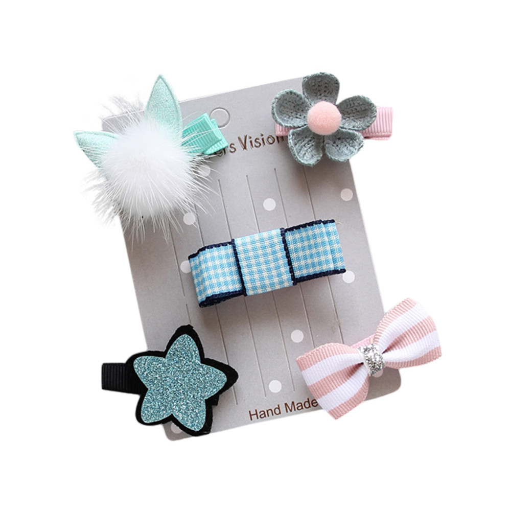 5Pcs Kids Infant Hairpin Baby Girl  Bow Flower Barrettes Star Hair Clip Set 2018 Hot toddler Baby Girls Hair pins