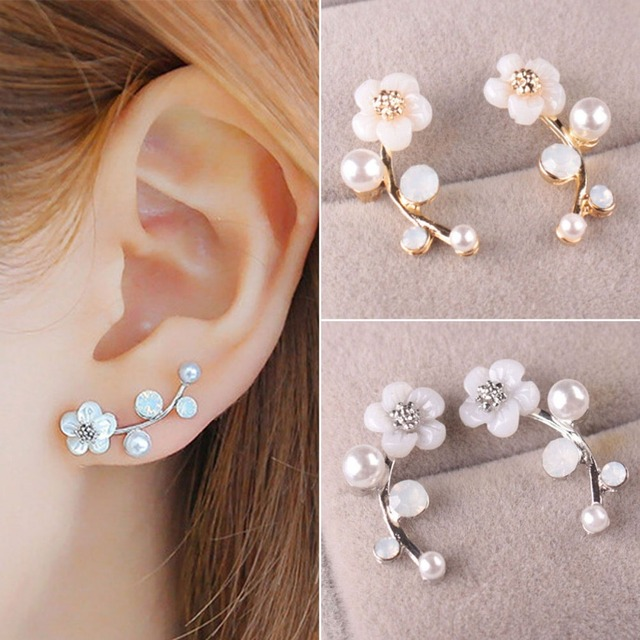 EAR VINES Shell Pearl Flower Ear Cuffs Wrap Pin Sweep up Climber Earrings emzcg