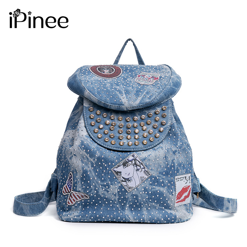 iPinee Denim Backpack Women School Backpacks Bag for Teenage Girls Vintage Laptop Rucksack Bagpack Female Schoolbag Mochila jmd backpacks for teenage girls women leather with headphone jack backpack school bag casual large capacity vintage laptop bag