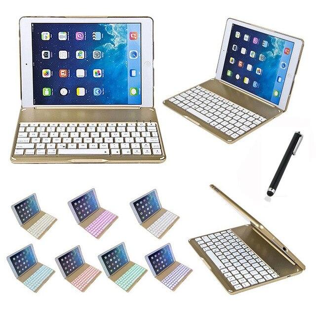Pour Apple iPad 6 Air 2 Tablet Luxe En Aluminium Folio Bluetooth Clavier Étui de protection Couverture de Stand Avec Coloré Rétro-Éclairé Lumière