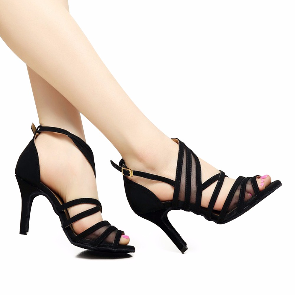 Women Latin Ballroom Dance Shoes Female salsa Sandal High heels 6/7.5/8.5cm Black Samba Tango Kizomba Dance shoes Soft Sole 1126