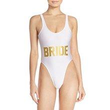 White BRIDE Gold Letter Bikini Sexy One Piece Bathing Suit Swimsuit Backless Summer Suit Women Bodysuit Rompers Womens Jumpsuit