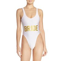 White BRIDE Gold Letter Bikini Sexy One Piece Bathing Suit Swimsuit Backless Summer Suit Women Bodysuit