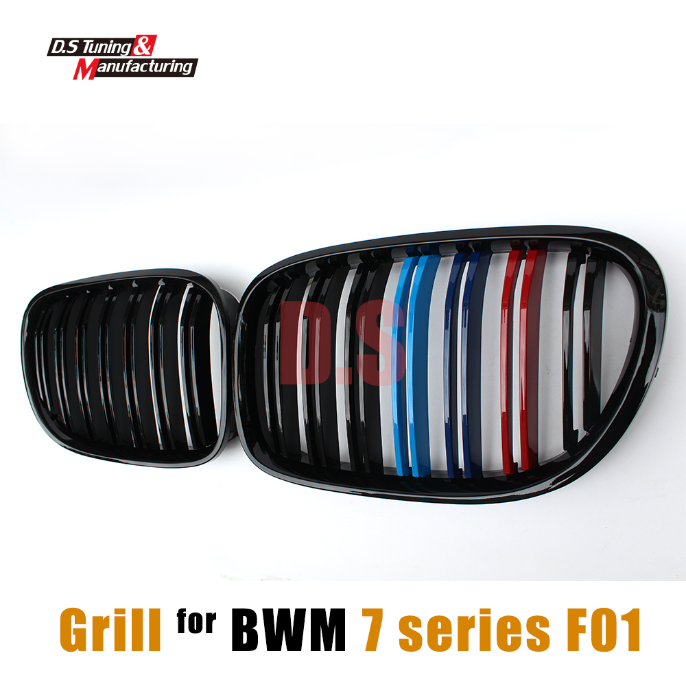 F01 2-Slat M Color Front Racing Grills Kidney Grille Mesh For BMW F01 F02 F03 F04 7 Series 2010 - 2015 4-Doors Saloon 750i liandlee for bmw 7 series f01 f02 f03 f04 730d 2008 2012 android original cic system radio idrive gps navi navigation multimedia