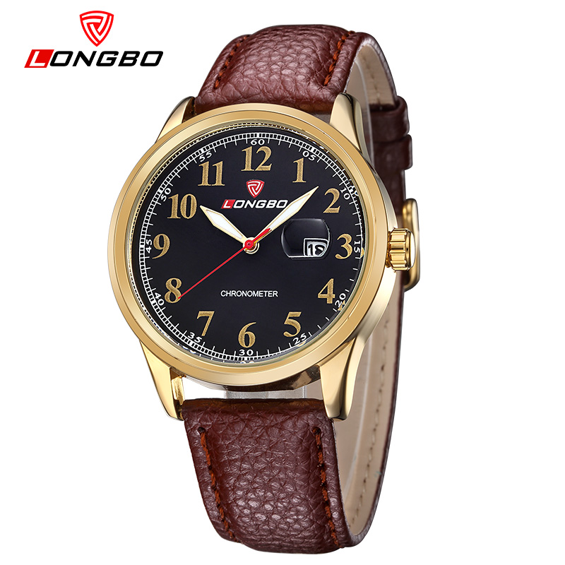 Men Top Brand Luxury Wristwatches LONGBO Hot Watches Men Leather Strap Casual Larger Watch Relogio Masculino Fashion Hours 80206
