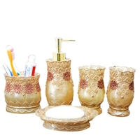 New Vintage Classic Luxury Bathroom Bath 5Pcs Set 3D Decor Accessories Collection Set For Hotel Home