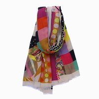 180cm*100cm Big Size Women 2017 Autumn New Fashion Cotton Floral Star Houndstooth Audrey Hepburn Printed Long Scarf Big Shawl