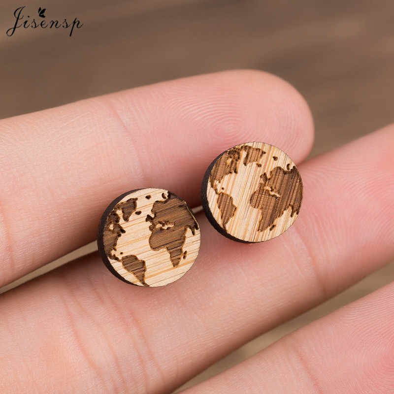 Jisensp Small Circle Pendant Stud Earrings Women Wooden Globe World Map Earrings Handmade Gift for Her Travels Jewelry Mother