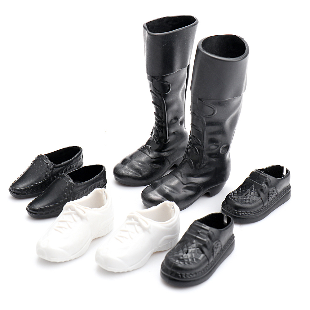 NK 4 Pairs Fashion Boots Doll Shoes Heels Sandals For Ken Dolls Accessories High Quality Baby Toy 6cm pu punks heels bjd doll shoes leather chunky heels shoes women s high heel for 1 4 dolls toy high quality doll accessories