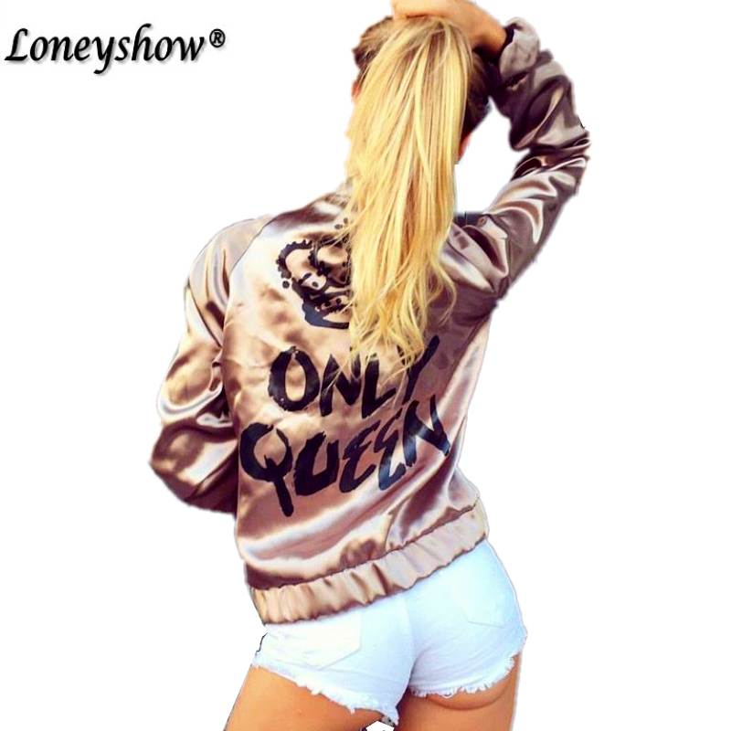 Loneyshow Casual Women   Basic   Coats Satin Silk Champagne Gold Bomber   Jacket   Back ONLY QUEEN Crown Letter Print outerwear coats