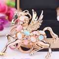 The new Pegasus Keychain  Resin crystal horse key ring  Female bag pendant  Male car keychain