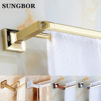 Golden Double Towel Bar 60cm Towel Holder Solid Brass Made Gold Finished Bath Products Bathroom Accessories
