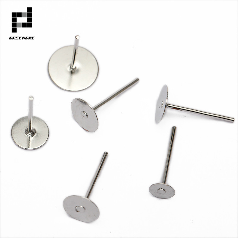 BASEHOME 100pcs/lot 316L Stainless Steel Blank Post Earring Studs Pins 3-12mm Flat Round Tray Base Ear Jewelry Findings DIY 100pcs lot stainless steel blank post earring studs pins silver gold color flat round tray base 6 8mm ear jewelry findings