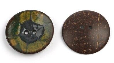 Цветная круглая Кокосовая декоративная кнопка, большая Деревянная пряжка, сделай сам, пальто для одежды, Кокосовая оболочка, клеевая кнопка, Детская Кнопка 63 мм - Цвет: 19
