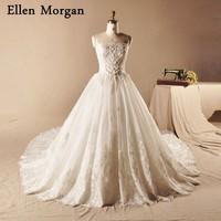 Taffeta Lace Ball Gowns Wedding Dresses 2018 Vestido De Noiva Appliques Pearls Elegant Princess Strapless Long