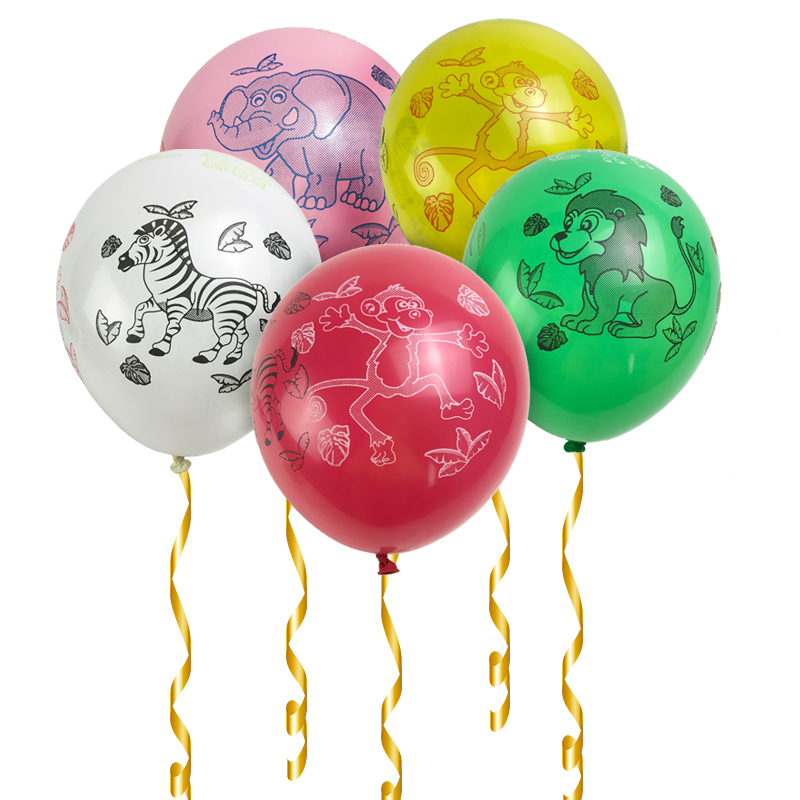 10Pcs 12 inches Animals Pet Monkey Zebra Lion elephant Printed Balloons Children's Party Decoration Globos Air Balls baloon toys