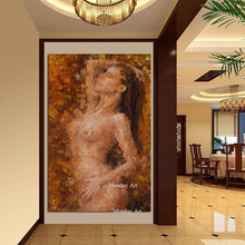 Wall art home decor 100% Hand painted Oil painting canvas Picture wall abstract Lovers Sexy Girl poster