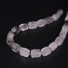 21pcs/str,Faceted Nugget Natural Black Rutilated Quartz Cube Pendant Beads,Rough Crystal Stone Necklace Bracelet Jewel Making