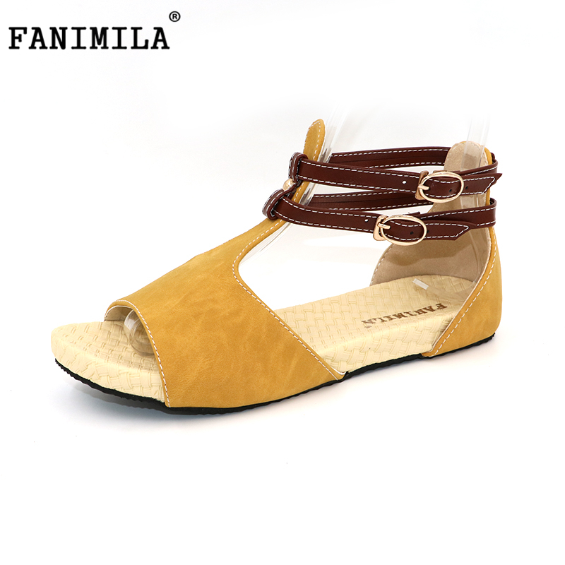 FANIMILA women bohemia leisure girl quality flat sandals brand fashion ladies heeled footwear heels shoes size 34-43 P18315
