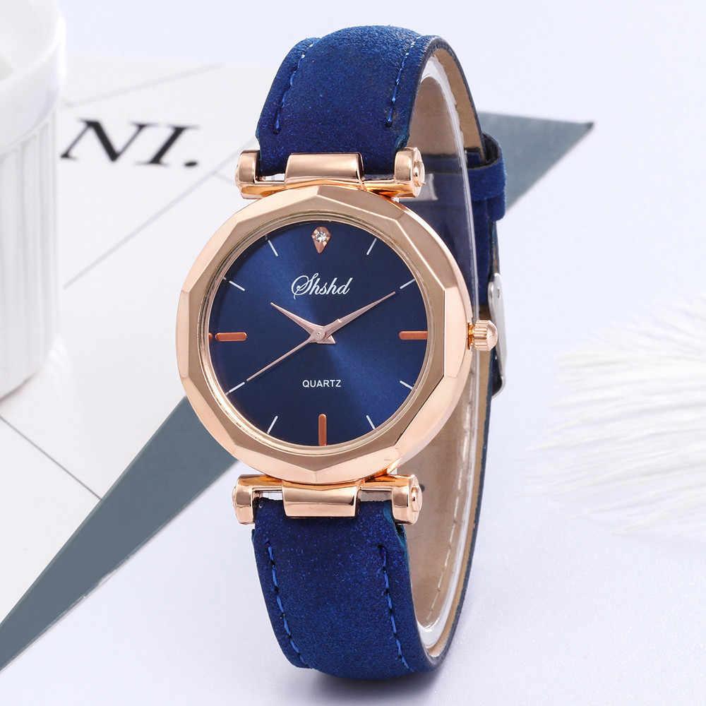 2019 femmes montres haut de gamme de luxe en cuir décontracté rond avec strass haute qualité alliage Quartz breloque Reloj Mujer