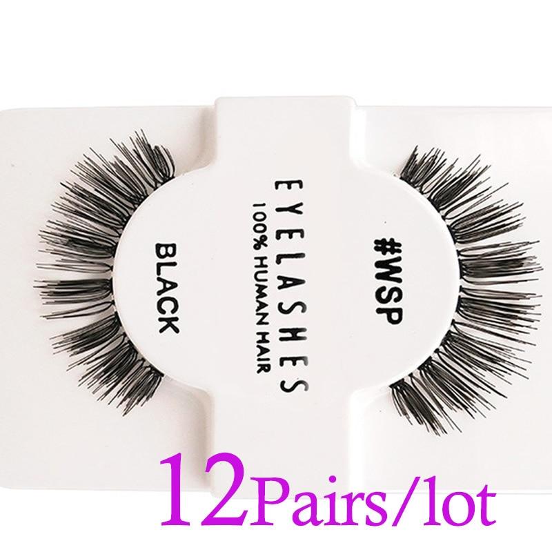 12 pairs of Manual fashion natural long 3d mink Artificial human hair eyelashes extension Hand-Made false fake eyelash