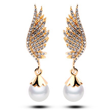 New Fashion Gold Earring For Women Crystal Wing Drop Dangles Pearl Ear Drop Earrings Great gift for party, birthday