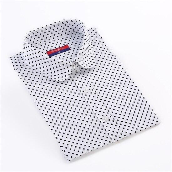 Dioufond, Хлопковая женская рубашка, блуза с длинным рукавом, красный горошек, Blusas Femininas, 5XL размера плюс, отложной воротник, женские модные топы - Цвет: white