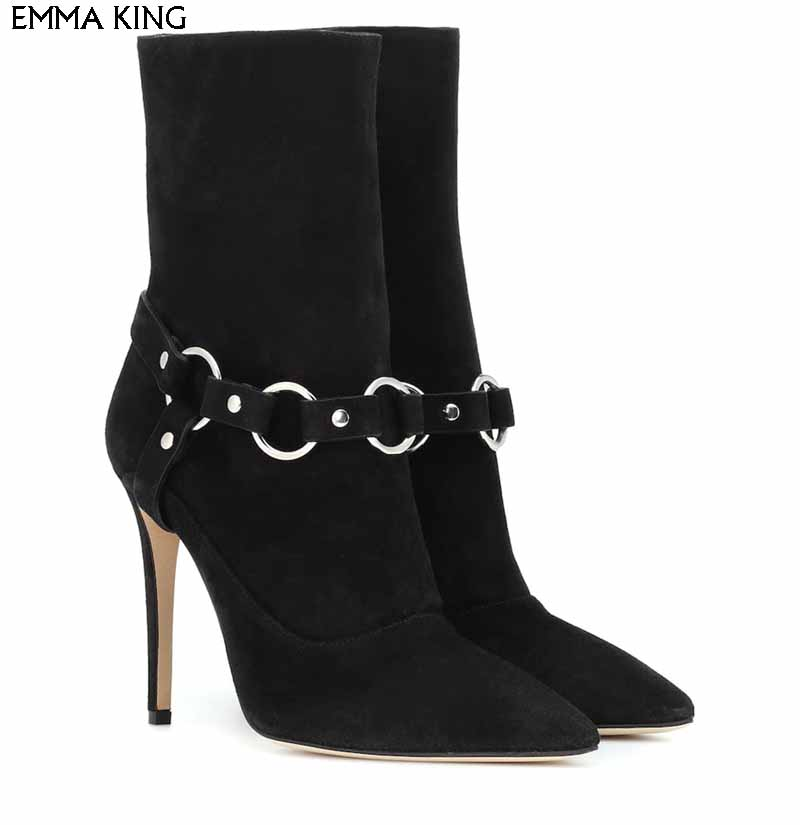 Spillo Caviglia Donna Avvolge Stivali Camoscio New A Black D'argento q5zOnxWz
