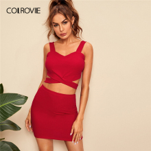 COLROVIE Red Criss Cross Slim Fitted Crop Tank Top And Skirt 2 Piece Outfits For Women