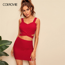 COLROVIE Red Criss Cross Slim Fitted Crop Tank Top And Skirt 2 Piece Outfits For Women 2019 Summer Sexy Straps Two Piece Set