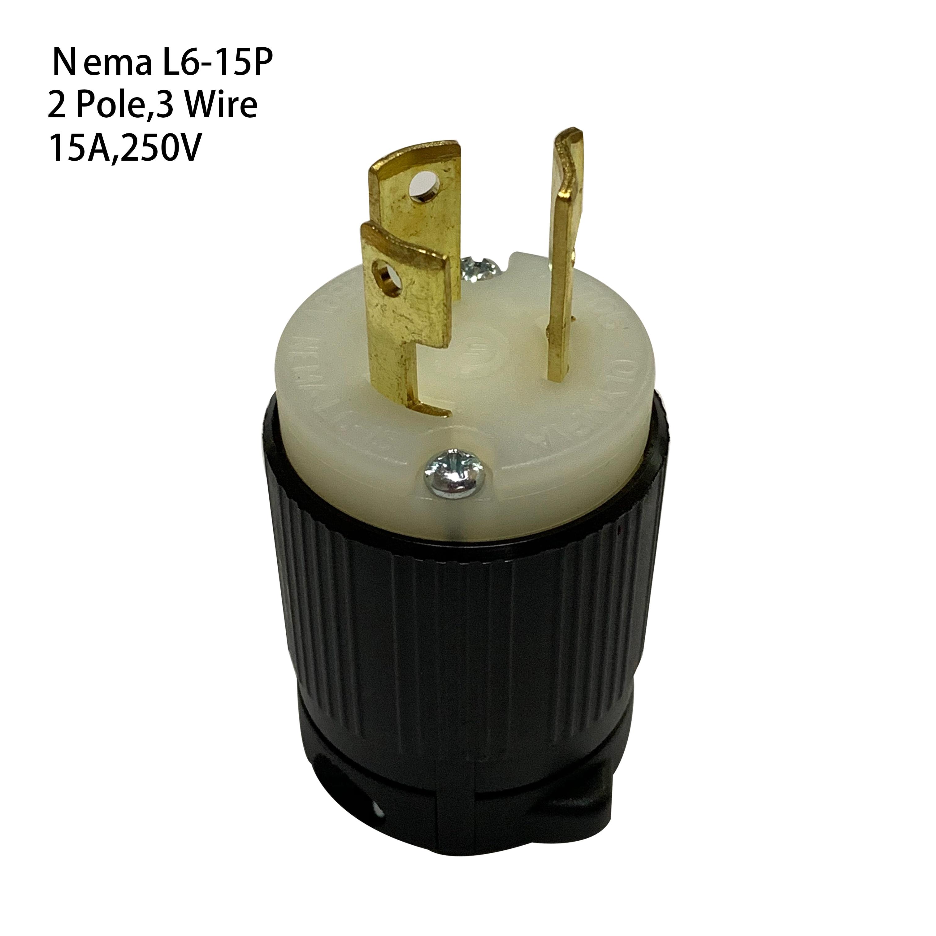 2 Pole 3 Wire Grounding 15A 250VAC Locking Plug Male NEMA L6-15P