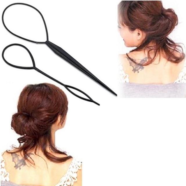 2 piezas creadora cola de plástico bucle suministros para el cabello negro Topsy cola Clip trenza pelo estilismo herramienta moda belleza