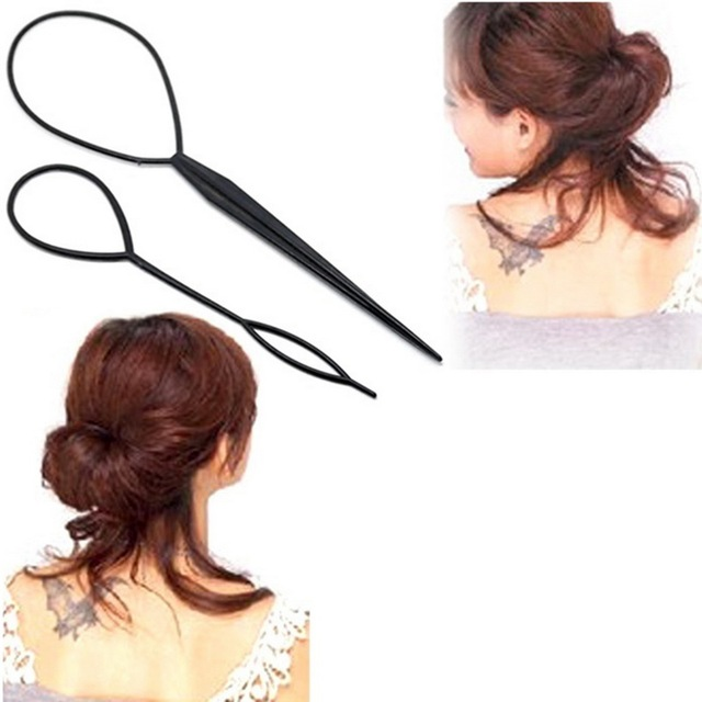 2pcs Creator Tail Plastic Loop Hair Supplies Black Topsy  Topsy Tail Clip Braid Hair Styling Tool Fashion Beauty