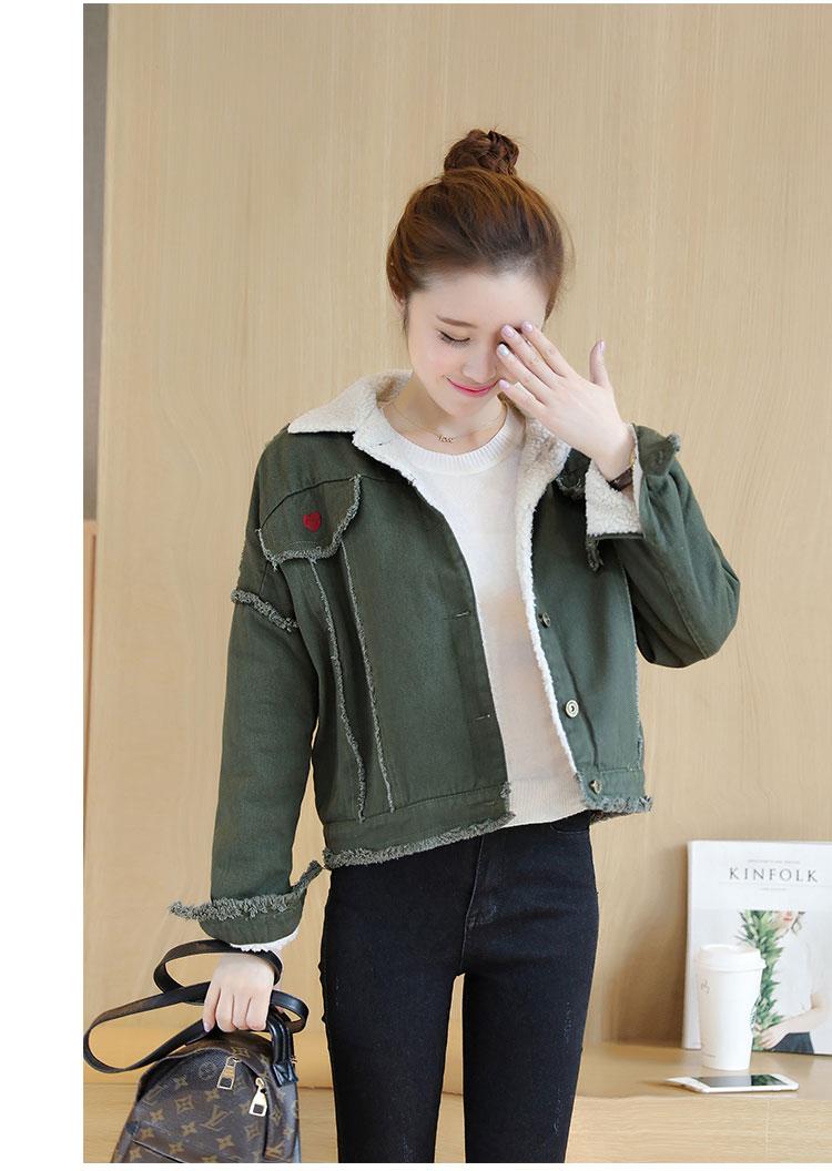 Damen Frauen Bomber 42OFF Vintage Rot Jacke Bomber US29 Windjacke Herbst Frühling Mantel 67 Grün Denim Weibliche Kurze Jeans Winter vm80wNnO